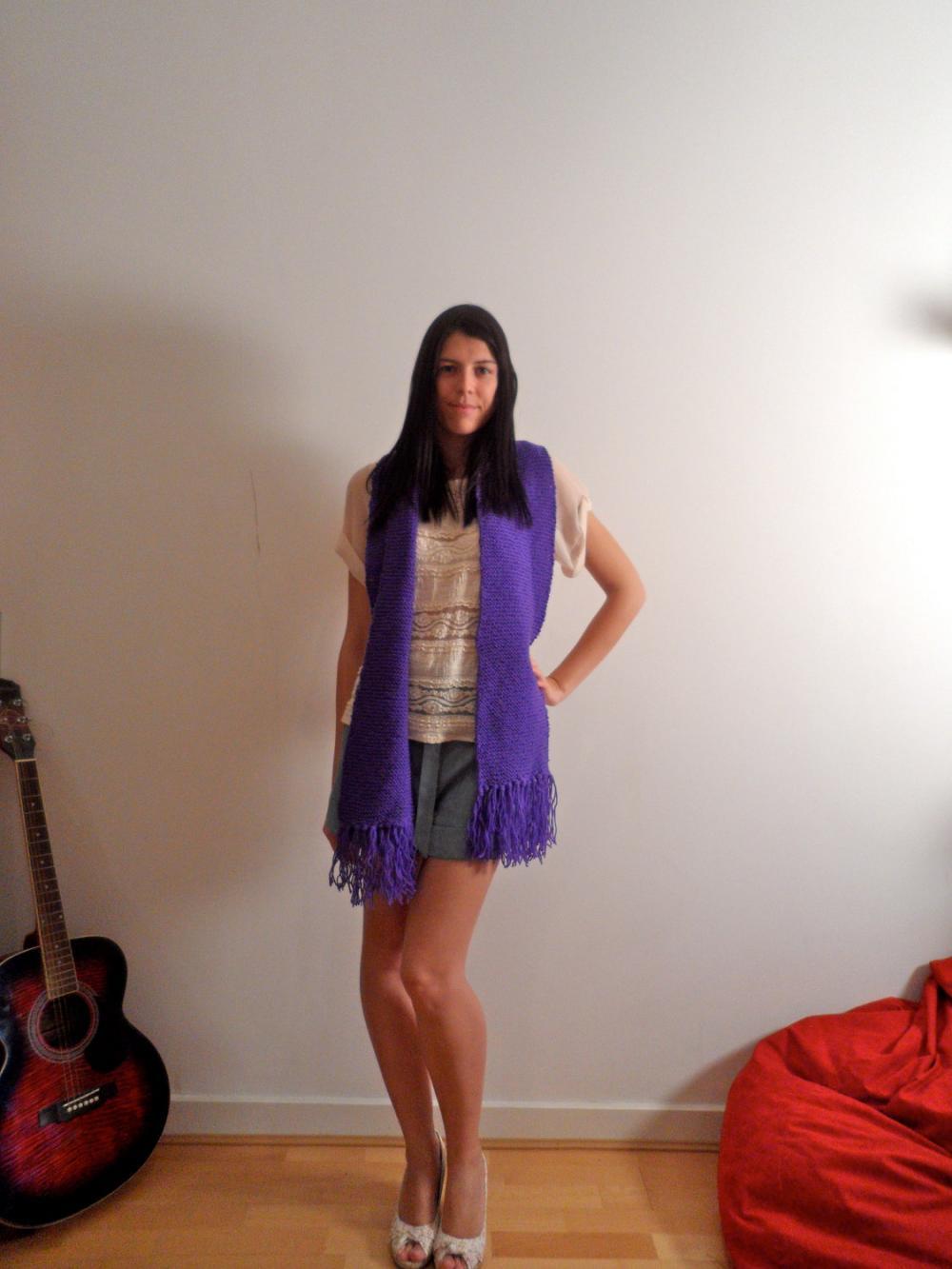 Handmade Knitted Purple Scarf